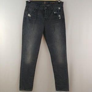 7FAM | josefina skinny boyfriend jeans in black